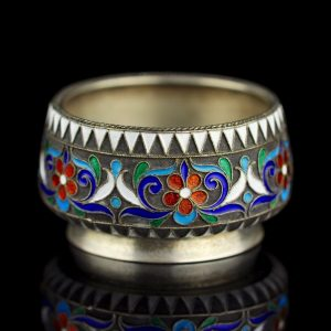Imperial Russian 84 silver enamel salt cellar