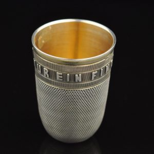 Antique Russian 84 silver thimble shaped vodka shot