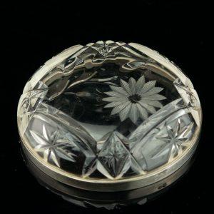 Lorup crystal bowl, silver rim