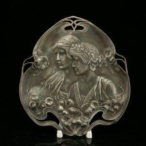 Antique Art Nouveau tray, metal