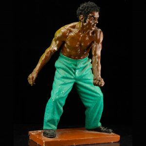 1992 Estonian Ceramic figure by Vahtra Arvo , african in green pants