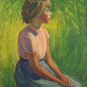 Ermi Littover (1921-2015) oil on carton , Rõuge girl 1964