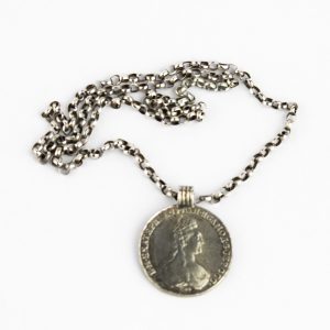 Antique Russian 1782 silver rouble pendant with silver chain