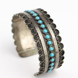 Antique silver bracelet with turquoise