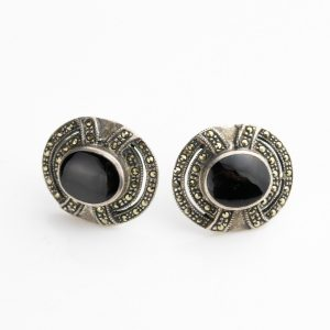 Silver earrings with onyx and marcasite