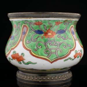 19th century French porcelain sugar jar, porcelain, hand painting A.Risler & Amp. Carre