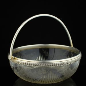 Antique crystal bowl, 830 silver