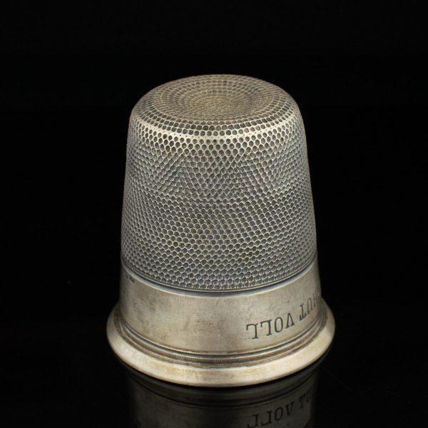 "Antique 800 silver vodka cup, thimble shapew ""Nur ein fingerhut voll"""