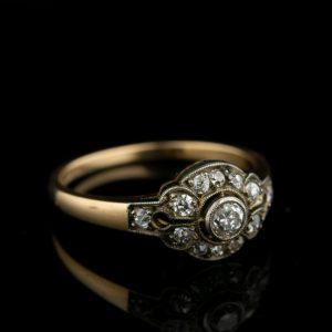 Tsaari-Vene sõrmus, kuld 56=500, briljandid