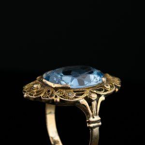 Kuldsõrmus, filigraan sinise kiviga