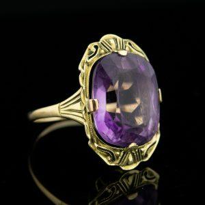 EW sõrmus, 585 kuld, lilla kivi