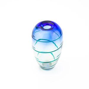 Art Deco klaasist vaas,sinine triip