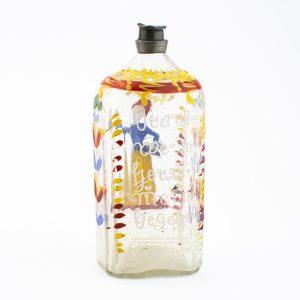 Antiikne 18saj. klaaspudel tinast korgiga, käsimaaling