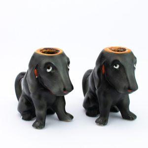 Antiiksed portselanist koerakujulised küünlajalad 2tk Bavaria