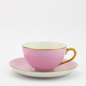 Langebrauni roosad kohvitassid ja alustaasid 5tk