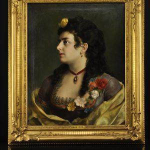Antiikne õlimaal Daami portree, Canon 1874