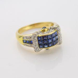 Kuldsõrmus - sinisafiirid ja briljandid. 18kar kuld