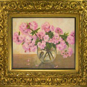 Antiikne puidust kuldne pildiraam lille maaliga