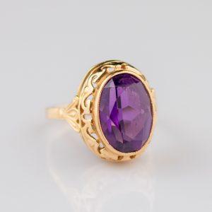 Sõrmus lilla kiviga, 583 kuld, Venemaa