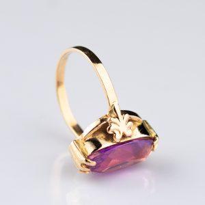 Sõrmus lilla kiviga, 585 kuld, Venemaa