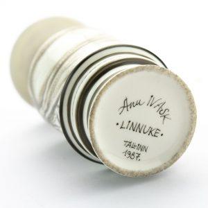 Anu Ivask (1933-2010) portselan pudel-toos Linnuke 1987a,Eesti