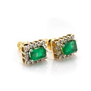 Kõrvarõngad, 750 kuld, smaragdid ja briljandid