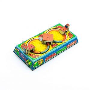 Retro mänguasi- Üleskeeratav plekist Rongirada,töötab
