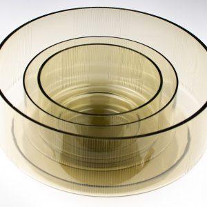 Tarbeklaasi kausside komplekt 3tk,suitsuklaas Joongraveering Helga Kõrge 1966a