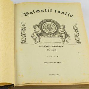 Antiikne lauluraamat Vaimulik laulja, IX.anne 1921 a Tallinn