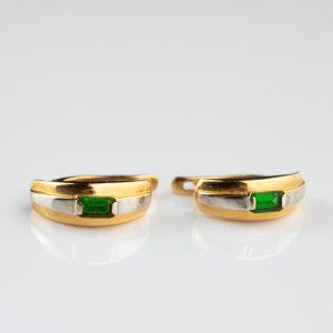 Kõrvarõngad, valge ja kollane kuld 585, roheline kivi