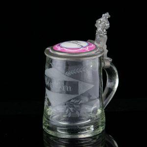 Antiikne Saksa õllekapp, klaas, kaas portselaniga