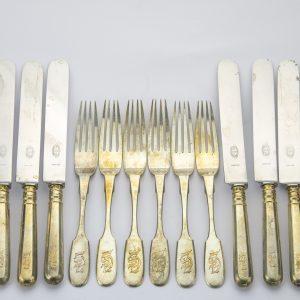 EW noad ja kahvlid 6 paari, 875 hõbe, Joseph Rubin