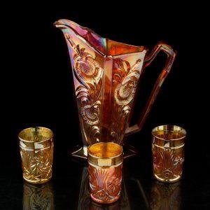 Antiikne lüsterklaasist kann ja 3 klaasi