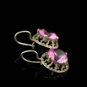 Kõrvarõngad, 830 hõbe, roosa sünt. kivi