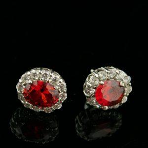 Kõrvarõngad, 925 hõbe, punane sünt.kivi