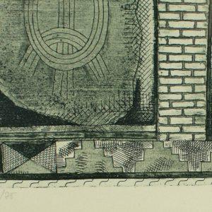 Evi Tihemets Siinpool müüri, 1978a ofort 23/75 Eesti