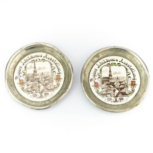 Läti suveniirtaldrikud 2tk. portselan metallist äärega, ühe hind 28 eurot