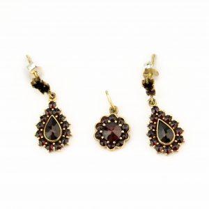 Granaatehted - kõrvarõngad ja ripats, kullatud hõbe 830/925
