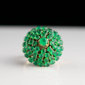 Kuldsõrmus roheliste kividega, suurus 16, kuld 14k