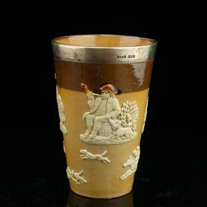 Inglise keraamiline joogitops hõbe äärega, Doulton Lambeth