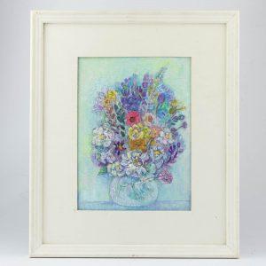 Valve Janov-Moss 1921-2003 Kirjud lilled 1989a,õli,papp
