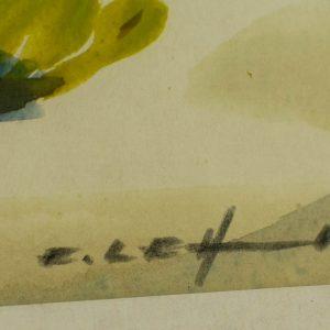 Enno Lehis (1912-2011) akvarell Talvinemaastik esimene lumi 1977a