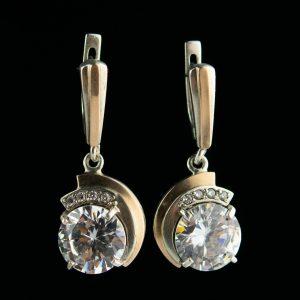 Kõrvarõngad mäekristalliga, hõbe 925, kuld 375
