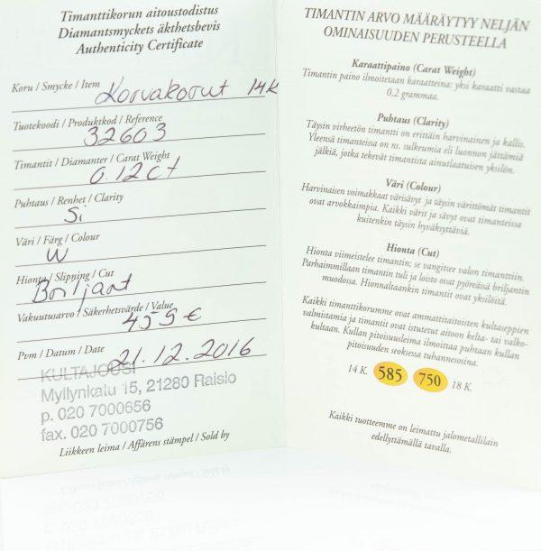 Kõrvarõngad, kuld 585 0.12ct briljandid, tootel sertifikaat