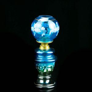Antiikne väike klaasist õli laualamp,sinine