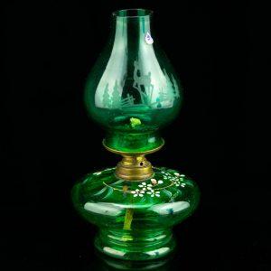 Antiikne väike klaasist õli laualamp
