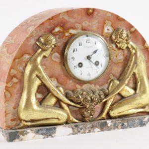 Art Deco kivist lauakell kahe naise kujuga,R.Mauger Contres,
