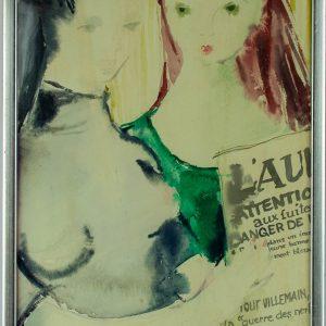 Silvia Leitu (1912-1969) Sõbrannad, akvarell Eesti