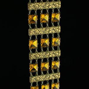 Art déco käevõru, metall kollaste kividega