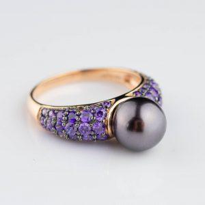 Sõrmus pärliga, 925 hõbe kullatud, suurus 21